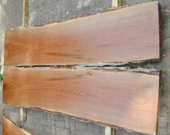8/4 Bookmatched Red Oak Live Edge Table Top Slabs - 1353 AB