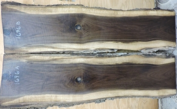 8/4 Bookmatched Walnut Live Edge Slabs - 1696 AB