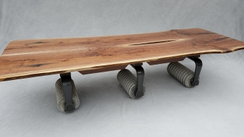 Bookmatched Walnut Granite Roll Base Table