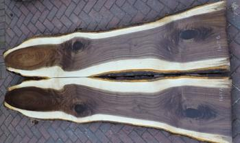 10/4 Bookmatched Walnut Live Edge Slabs - 1617 AB