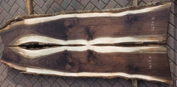 8/4 Bookmatched Walnut Live Edge Table Top Slabs - 1679 AB