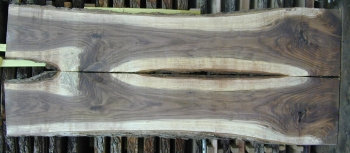 8/4 Bookmatched Walnut Live Edge Table Top Slabs  - 731 AB